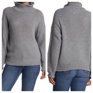 BB Dakota Textured Turtleneck Grey Sweater Large